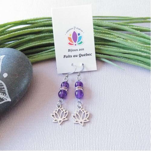 Boucles d'oreilles Lotus violet