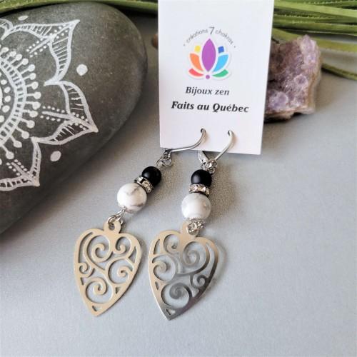 Boucles d'oreilles Grand coeur blanc