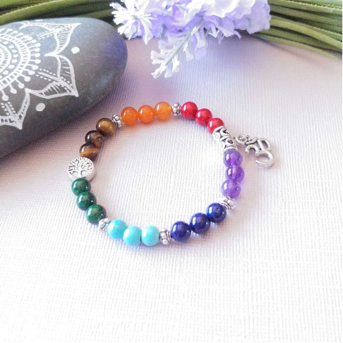 Bracelet 7 chakras OM