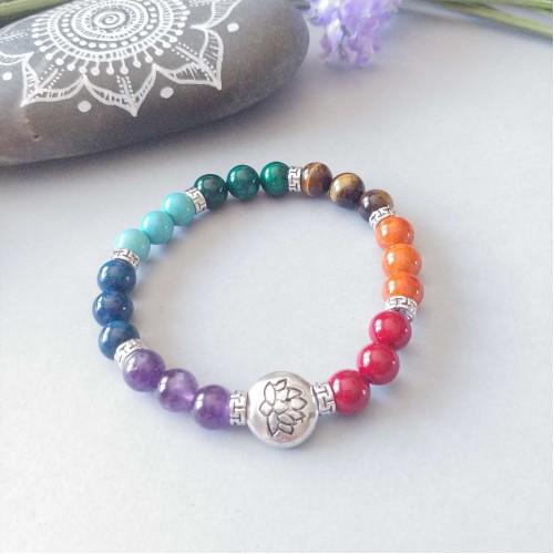 Bracelet 7 chakras Fleur de lotus