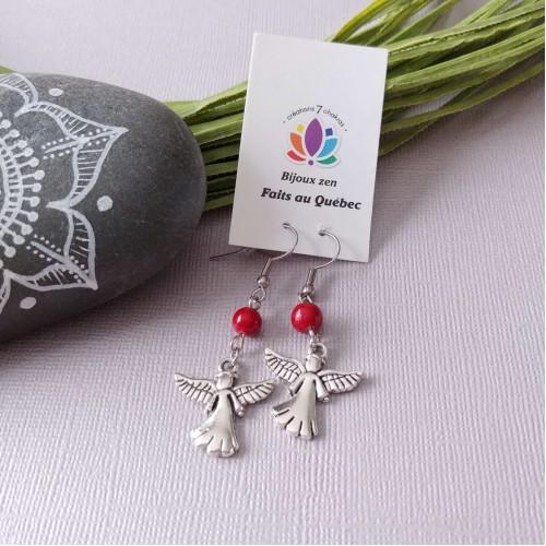 Boucles d'oreilles Ange gardien rouge