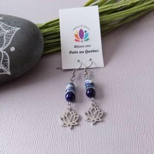 Boucles d'oreilles Lotus bleu